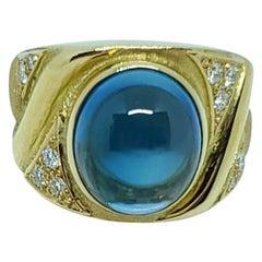 Bruno Guidi 18 Karat Gold Cabochon Blue Topaz and Diamond Ring