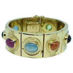 Bruno Guidi 18 Karat Gold Multi Cabochon Bracelet