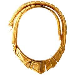 Bruno Guioi Brazil 18 Karat Gold Geometric Pattern Necklace