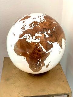 The World Globe by Bruno Helgen Contemporary Small White Teak Wood Sculpture