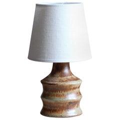 Bruno Karlsson, Small Table Lamp, Stoneware, Linen, Studio Ego, Sweden, 1960s