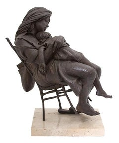 Mother And Daughter Resting In The Chair Bronze Sculpture