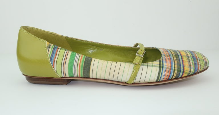 Bruno Magli Plaid Fabric & Green Leather Mary Jane Shoes Sz 6 B For Sale 5