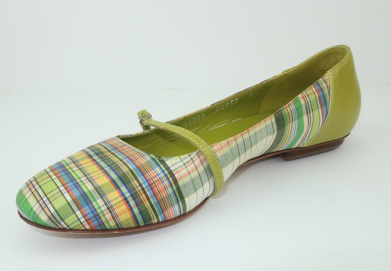 Bruno Magli Plaid Fabric & Green Leather Mary Jane Shoes Sz 6 B For Sale 6