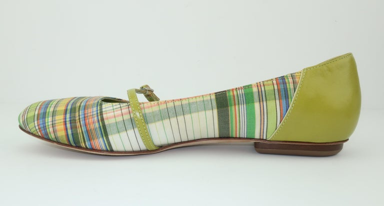 Bruno Magli Plaid Fabric & Green Leather Mary Jane Shoes Sz 6 B For Sale 7
