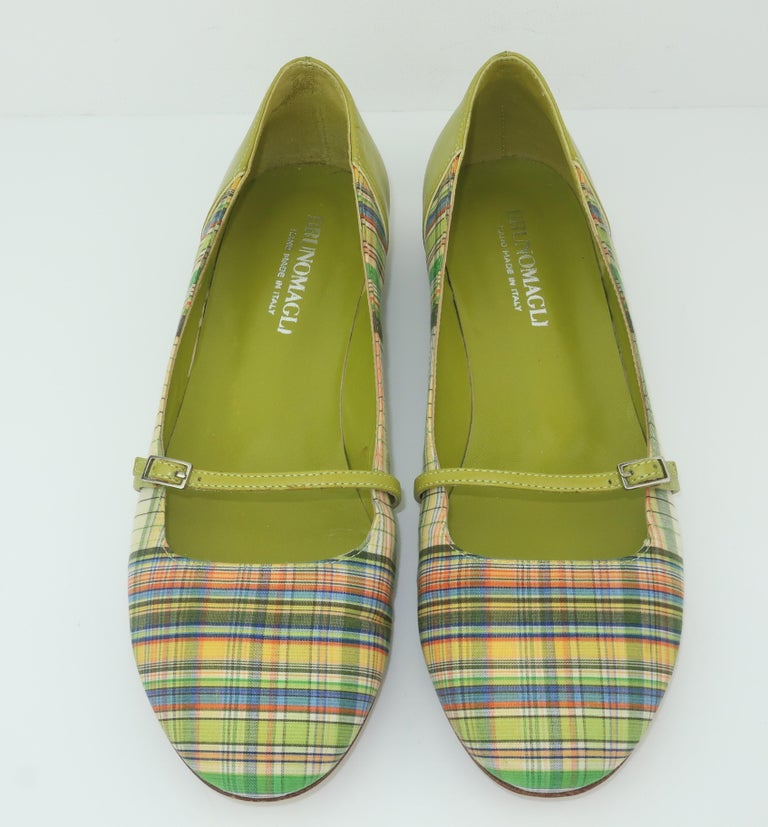 Brown Bruno Magli Plaid Fabric & Green Leather Mary Jane Shoes Sz 6 B For Sale