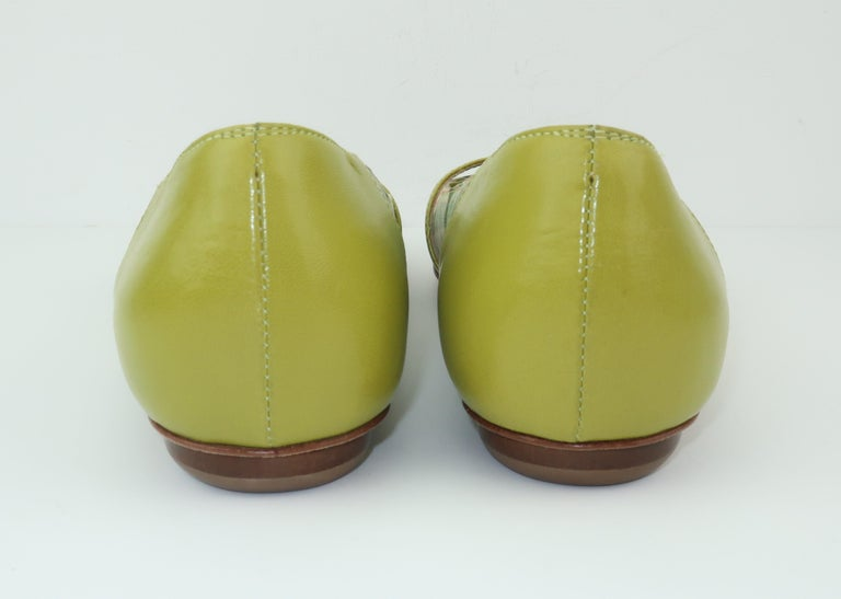 Women's Bruno Magli Plaid Fabric & Green Leather Mary Jane Shoes Sz 6 B For Sale