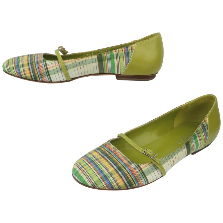 Bruno Magli Plaid Fabric & Green Leather Mary Jane Shoes Sz 6 B For Sale