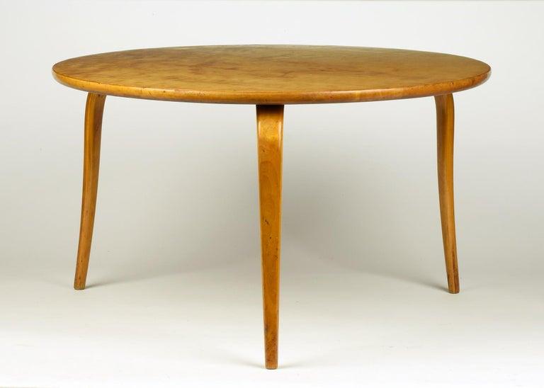 Bruno Mathsson (designer) for Karl Mathsson, Värnamo, Sweden (manufacturer)  'Annika' low table, designed 1936.  Curly birch top on laminated birch legs. Stamped to underside 'MADE IN SWEDEN'  Rare original early version in good un-restored