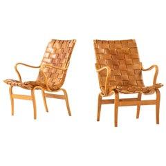 Bruno Mathsson Easy Chairs Model Eva by Karl Mathsson in Värnamo, Sweden