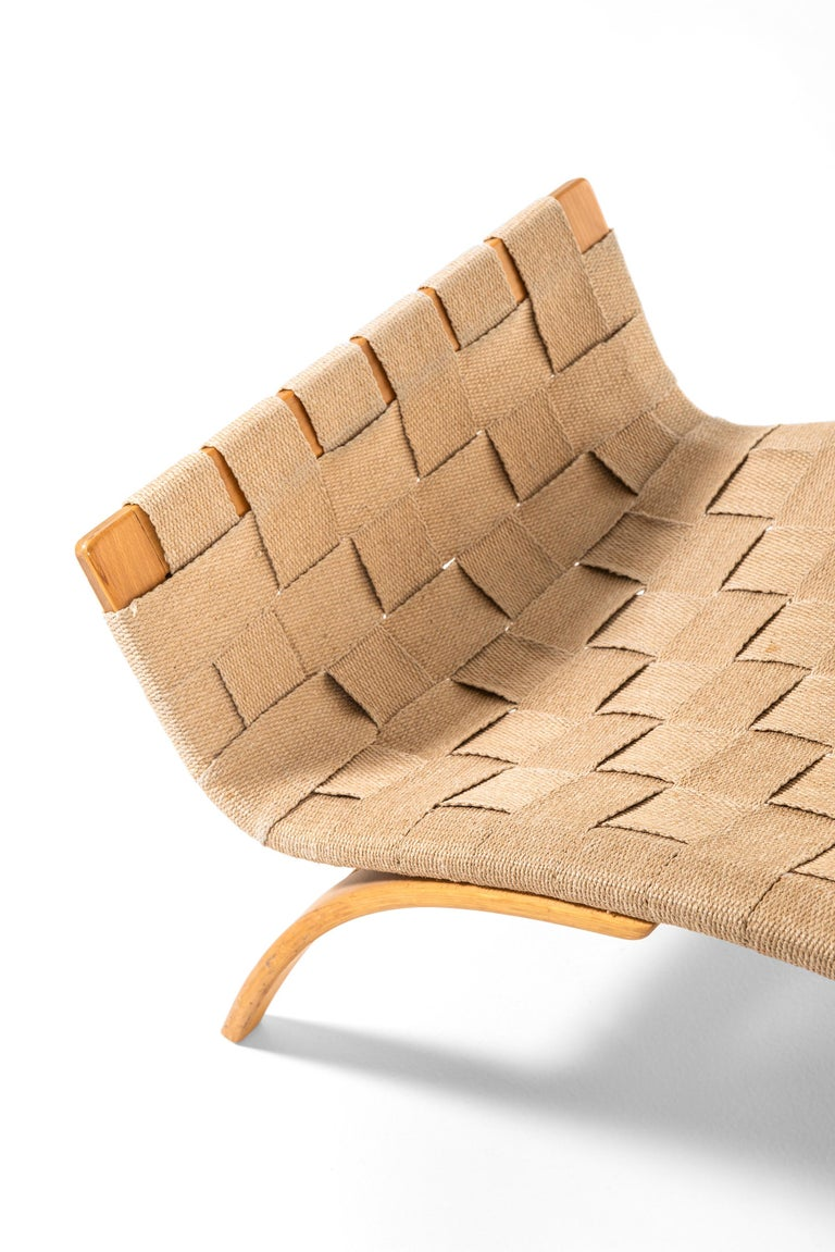 Swedish Bruno Mathsson Easy Chairs with Stools Model Pernilla Produced by Karl Mathsson For Sale