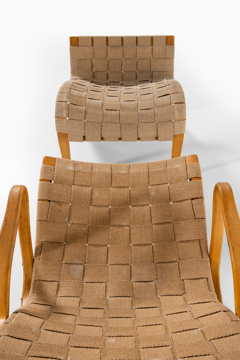Bruno Mathsson Easy Chairs with Stools Model Pernilla Produced by Karl Mathsson In Good Condition For Sale In Malmo, SE