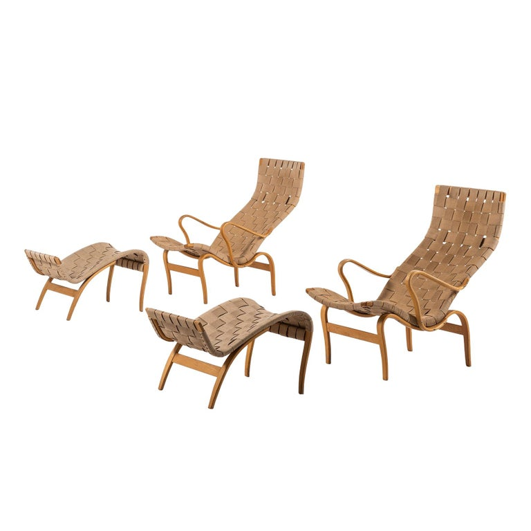 Bruno Mathsson Easy Chairs with Stools Model Pernilla Produced by Karl Mathsson For Sale