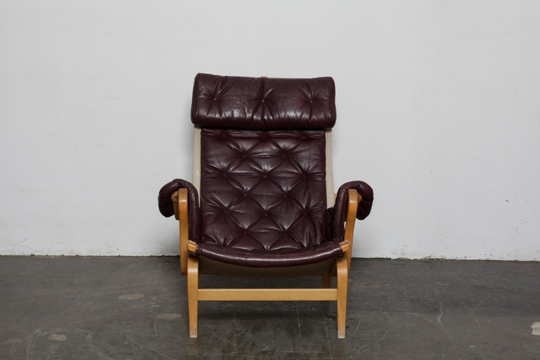 Mid-Century Modern Bruno Mathsson Eggplant Colored Tufted Leather