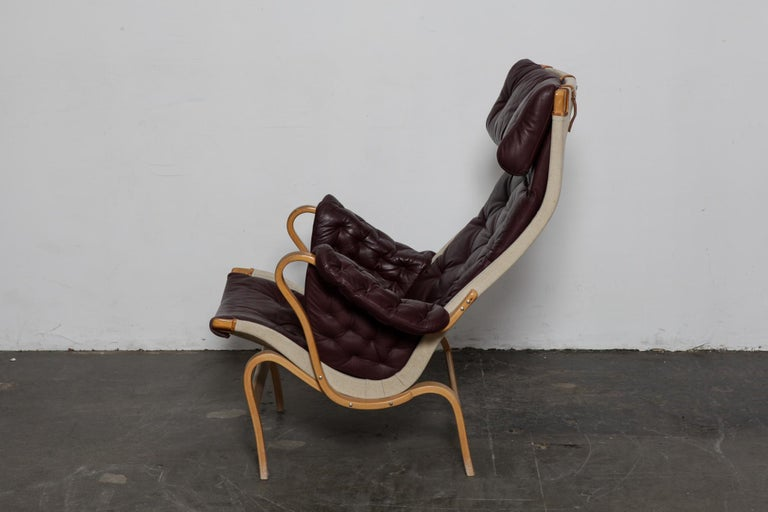 Mid-20th Century Bruno Mathsson Eggplant Colored Tufted Leather