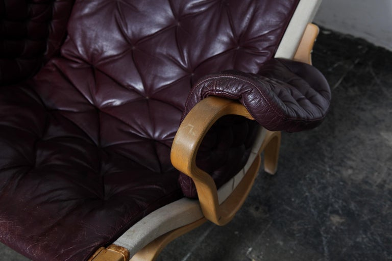 Bruno Mathsson Eggplant Colored Tufted Leather