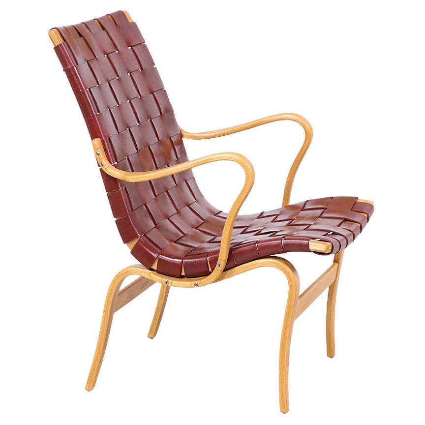 "Bruno Mathsson ""Eva"" Cognac Leather Lounge Chair for Karl Mathsson"