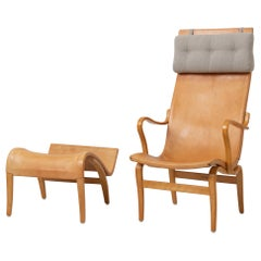 Bruno Mathsson 'Eva Hög' Chair and Ottoman in Leather