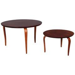 Bruno Mathsson for DUX, Pair of Mahogany Side Tables, Model Annika