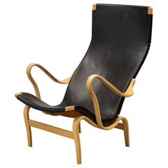 Bruno Mathsson Lounge Chair Pernilla Original Patinated Leather, 1960s