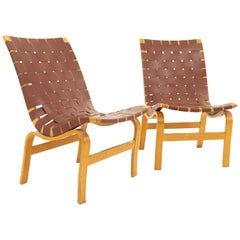 Bruno Mathsson Model 41 Eva Mid Century Lounge Chairs, Pair