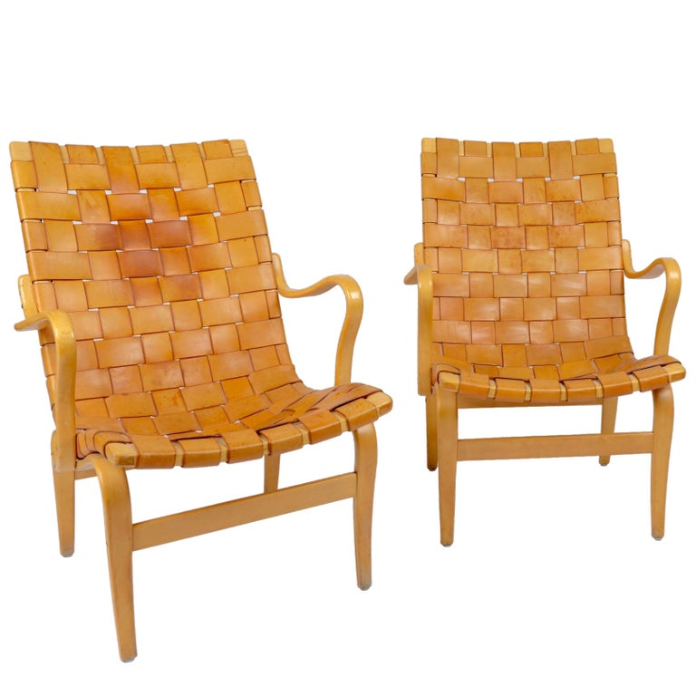 Bruno Mathsson Pair of Eva Chairs in Leather, Karl Mathsson, Sweden, 1960s