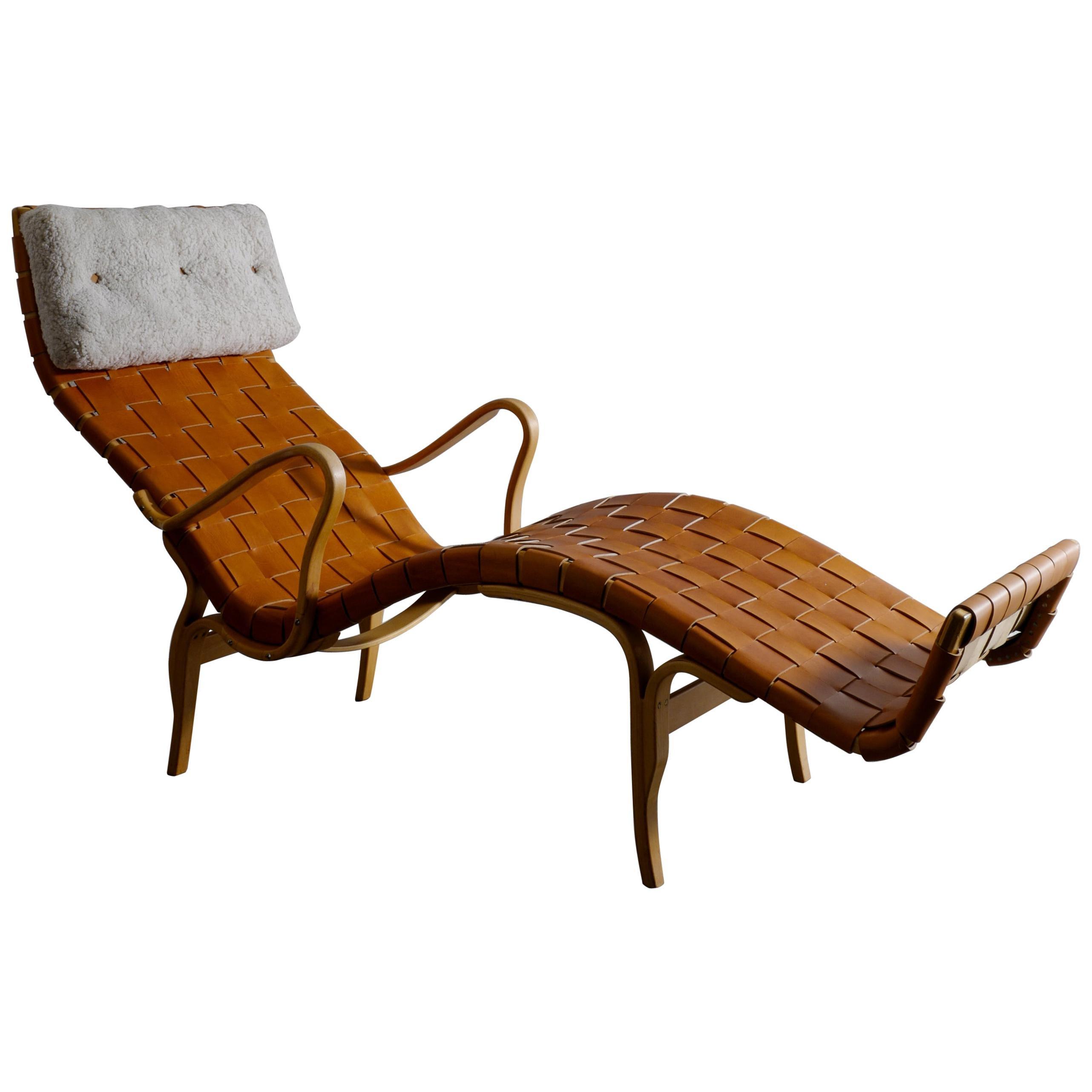 "Bruno Mathsson ""Pernilla 3"" Lounge Chair in Leather and Sheepskin Swedish, 1970s"