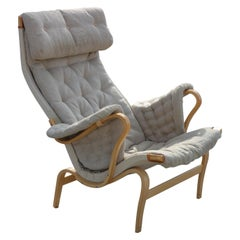 Bruno Mathsson, Pernilla Armchair in Canvas Made by DUX Sweden Designed, 1944