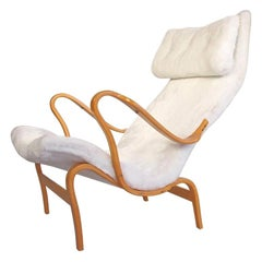 Bruno Mathsson Pernilla Chair in White Faux Fur Produced by DUX