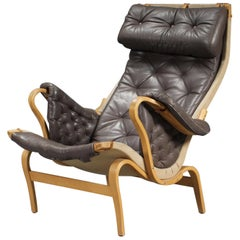 Bruno Mathsson Pernilla chocolate brown leather armchair for Dux 1970`s