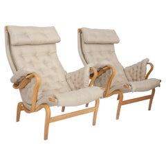 "Bruno Mathsson ""Pernilla"" Model Brown Beige Birch Wood Swedish Armchairs, 1950"