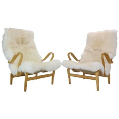 "Bruno Mathsson Set of 2 ""Pernilla"" Lounge Chairs for DUX, 1969, Sweden"