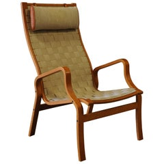 Bruno Mathsson Style Chair with Woven Strap Upholstery & Beech Bentwood Frame