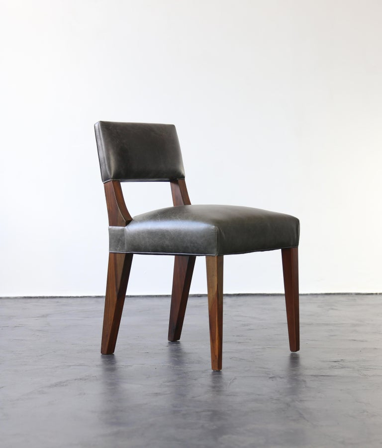 Woodwork Bruno Modern Dining Chair in Argentine Rosewood and Leather from Costantini For Sale