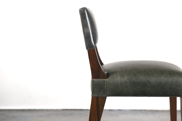 Bruno Modern Dining Chair in Argentine Rosewood and Leather from Costantini In New Condition For Sale In New York, NY