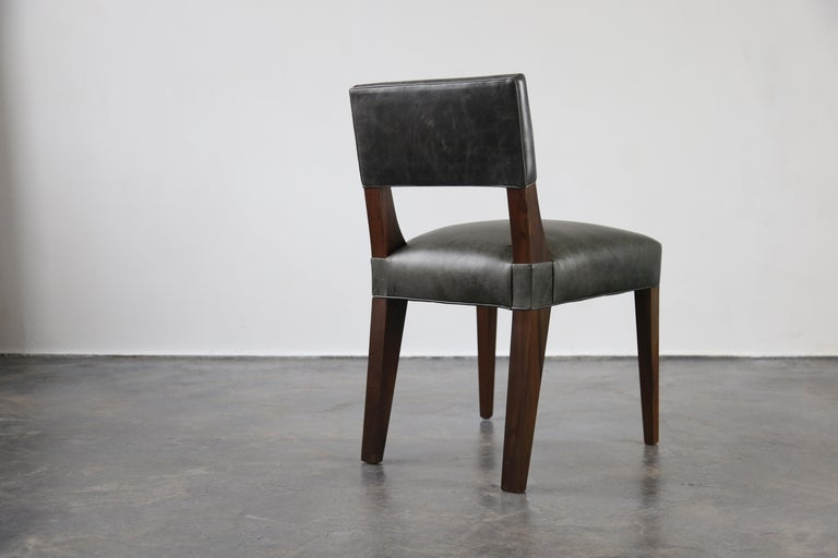 Contemporary Bruno Modern Dining Chair in Argentine Rosewood and Leather from Costantini For Sale