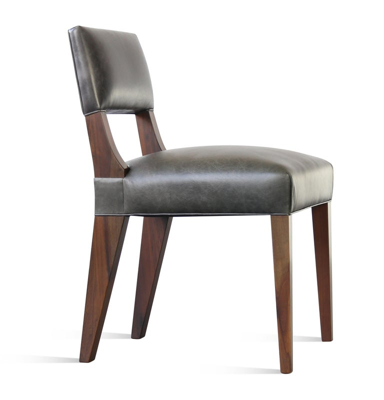 Wood Bruno Modern Dining Chair in Argentine Rosewood and Leather from Costantini For Sale