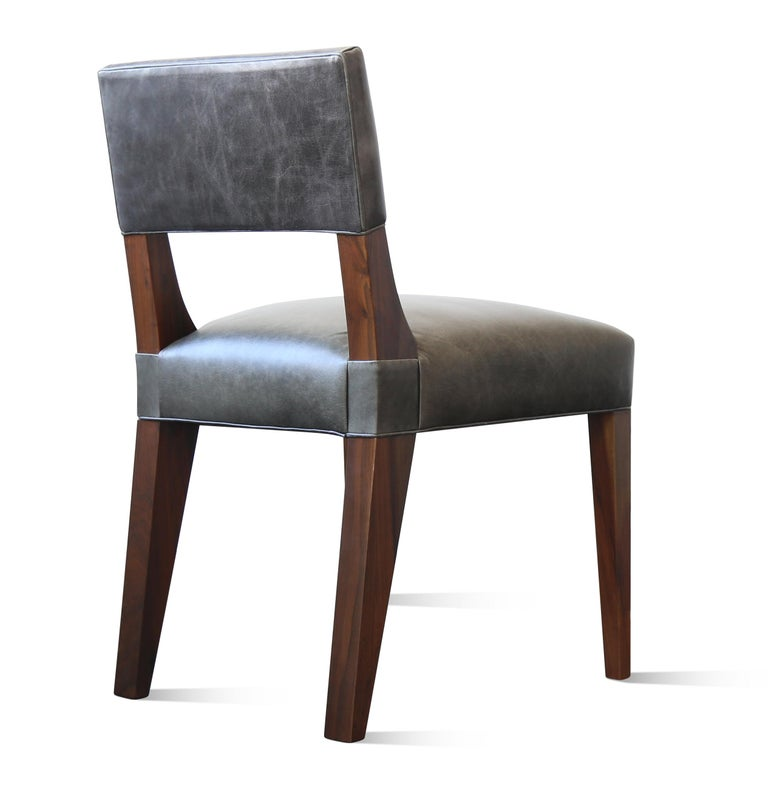 Bruno Modern Dining Chair in Argentine Rosewood and Leather from Costantini For Sale 1