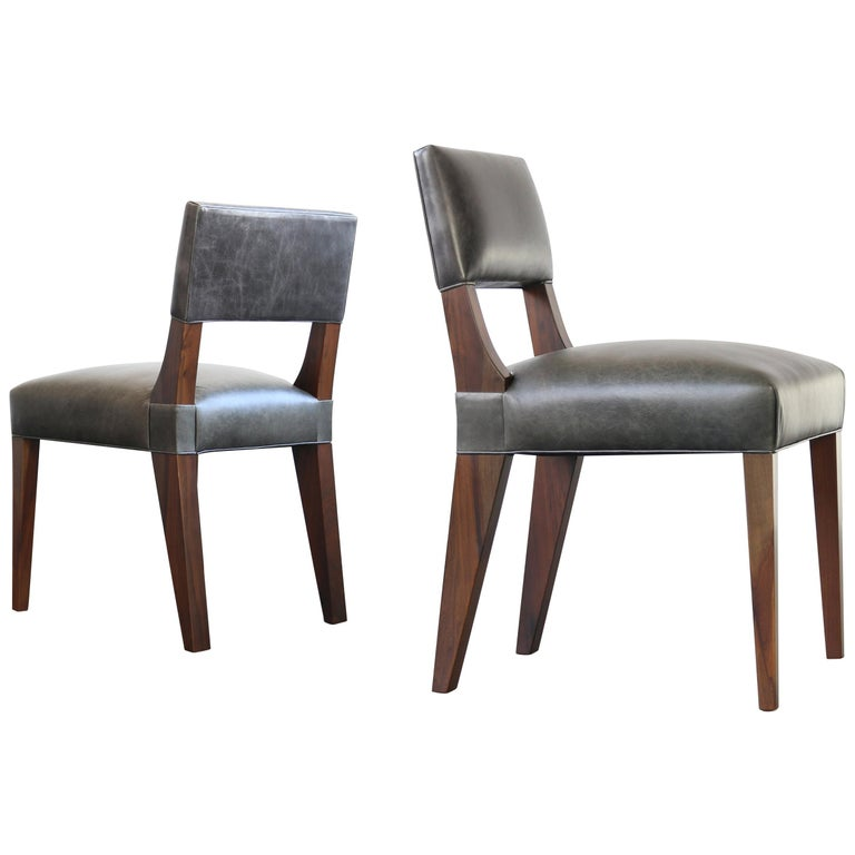 Bruno Modern Dining Chair in Argentine Rosewood and Leather from Costantini For Sale