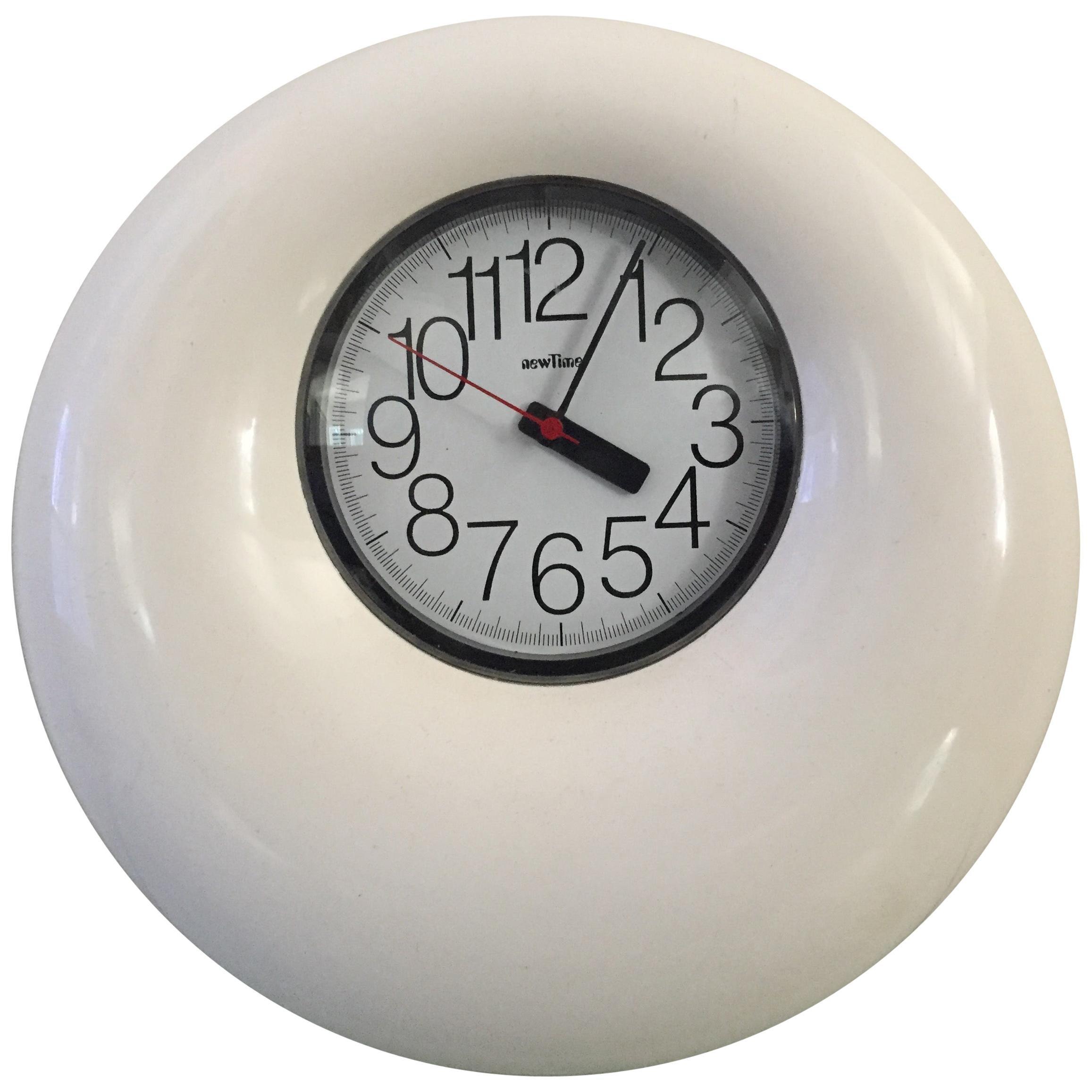 Bruno Porzio New Time Plastic 1960s White Midcentury Clock