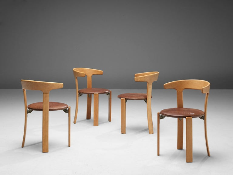 Mid-Century Modern Bruno Rey Dining Chairs in Brown Leather
