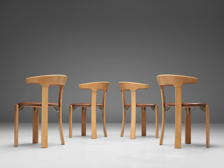 Swiss Bruno Rey Dining Chairs in Brown Leather