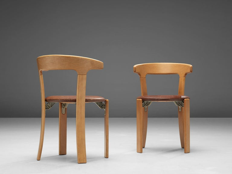 Bruno Rey Dining Chairs in Brown Leather In Good Condition In Waalwijk, NL
