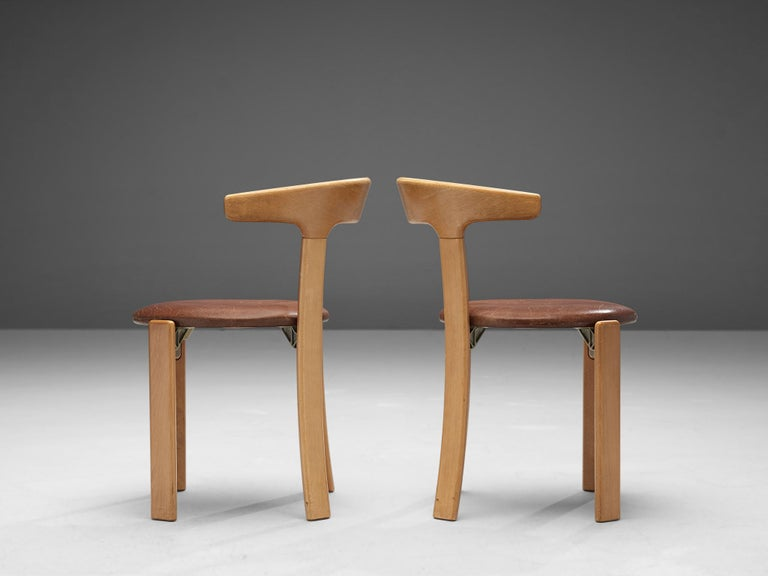 Late 20th Century Bruno Rey Dining Chairs in Brown Leather