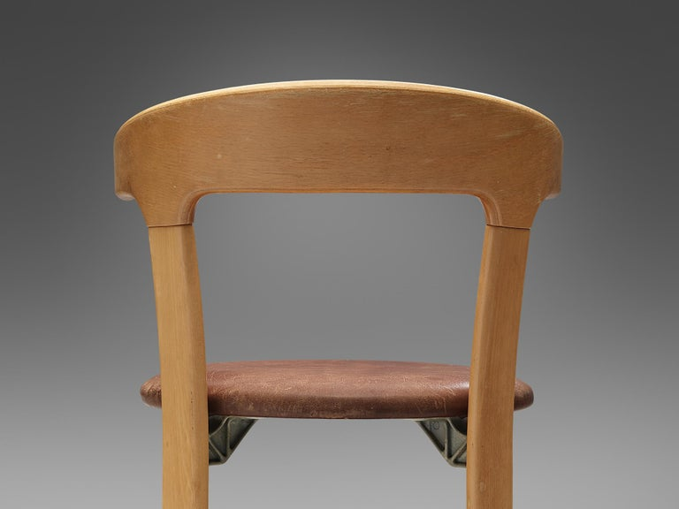 Bruno Rey Dining Chairs in Brown Leather 1