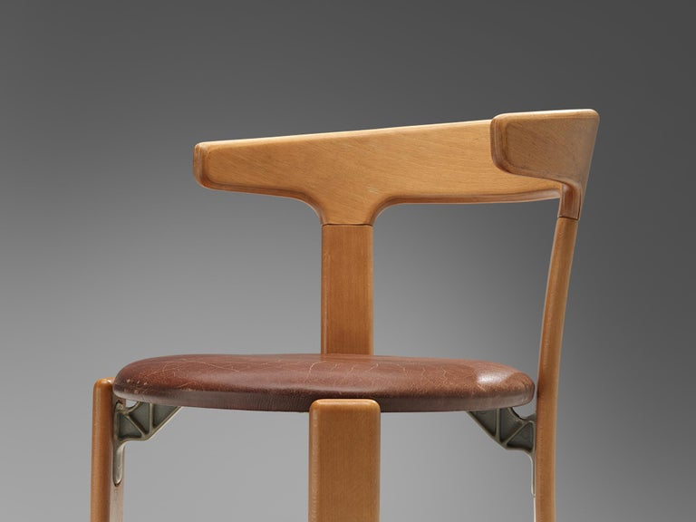 Bruno Rey Dining Chairs in Brown Leather 2
