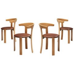 Bruno Rey Dining Chairs in Brown Leather