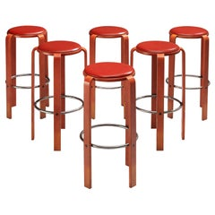 Bruno Rey for Dietiker Barstools in Red