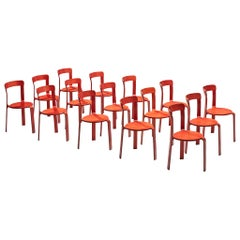 Bruno Rey for Dietiker Chairs in Red Plywood, 1970s