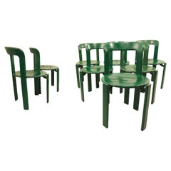 Bruno Rey for Dietiker Set of 8 Green Dining Room Chairs